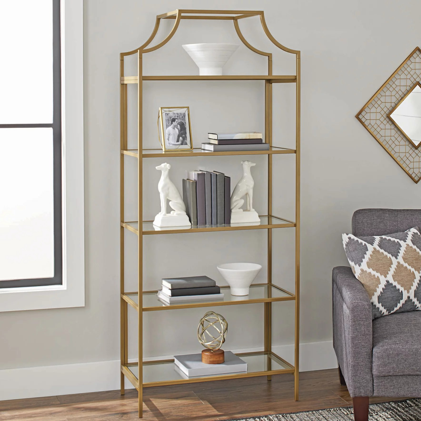 better homes gardens 71 nola 5 tier etagere bookcase gold finish