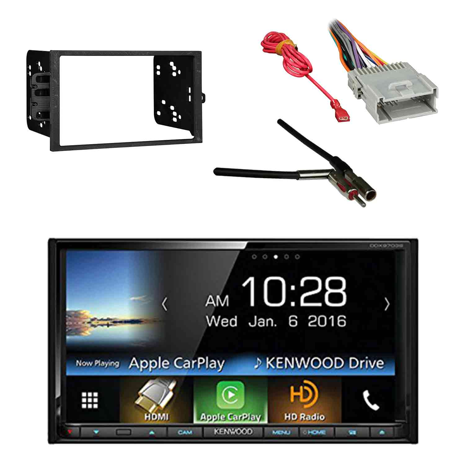 kenwood ddx9703s 2 din dvd cd am fm car stereo receiver with metra kenwood sub amp [ 1500 x 1500 Pixel ]