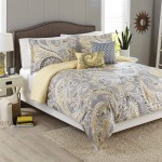 Better Homes Gardens Full Paisley Yellow Grey Comforter Set 5 Piece Walmart Com Walmart Com