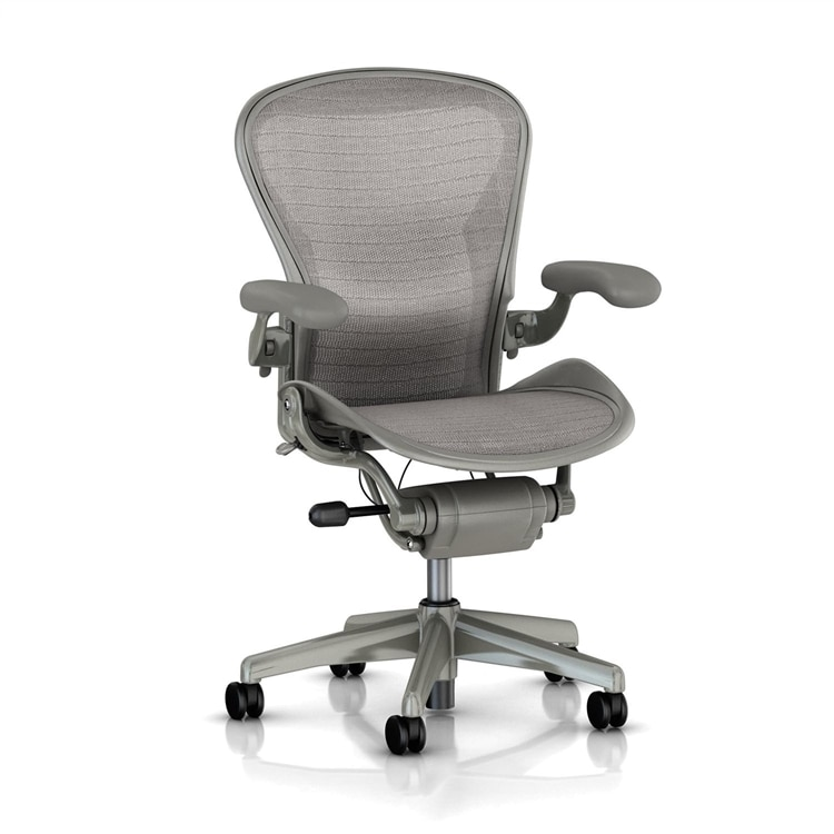 white aeron chair cane chairs for sale herman miller size b gray wave semi loaded executive office walmart com
