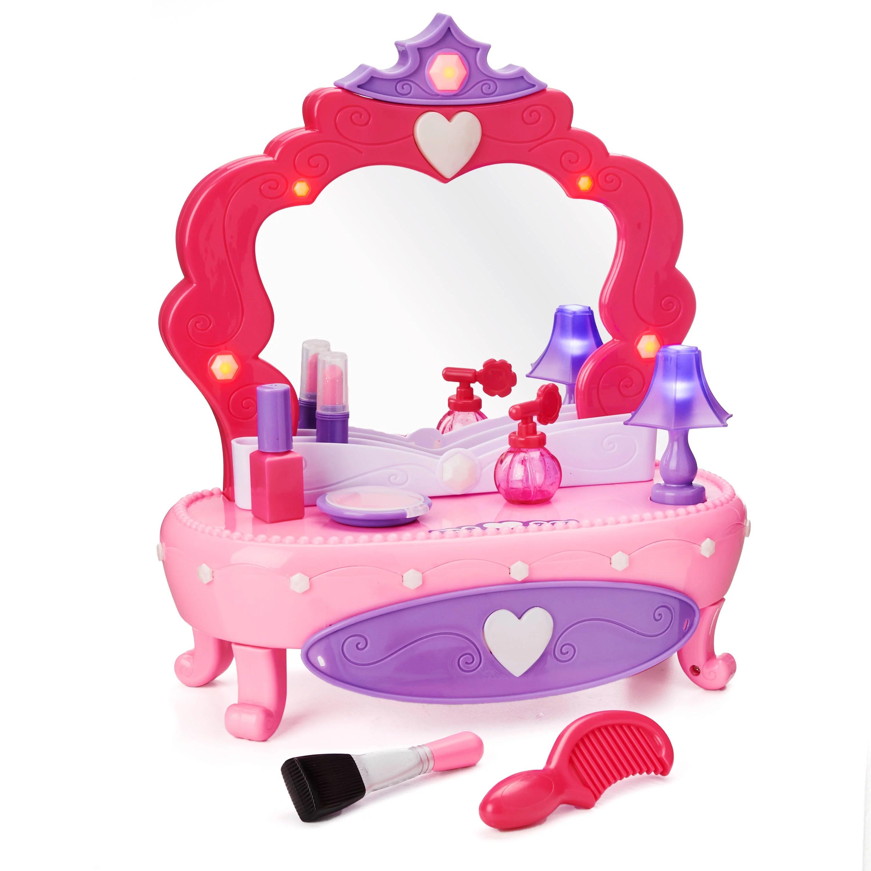 kid connection light up vanity set with working storage drawer 7 pieces walmart com