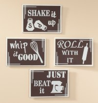 Kitchen Metal Wall Art Set of 4 - Walmart.com