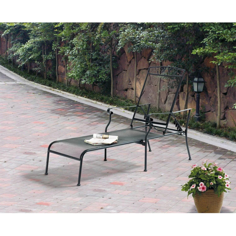 mainstays jefferson wrought iron chaise lounge black