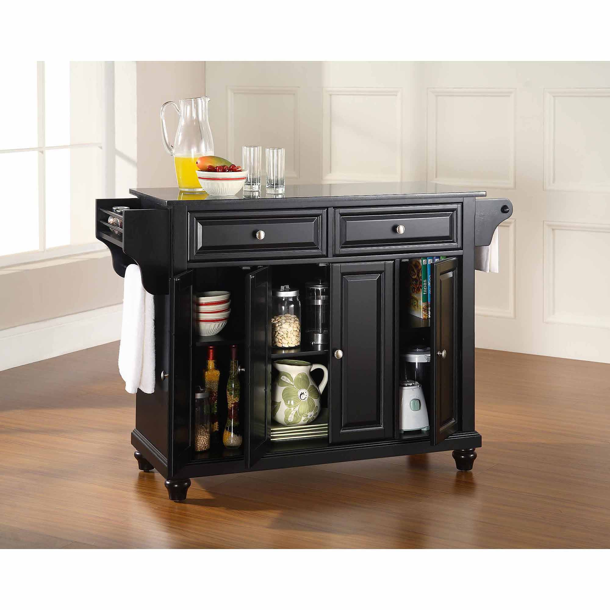 Crosley Furniture Cambridge Solid Black Granite Top Kitchen Island