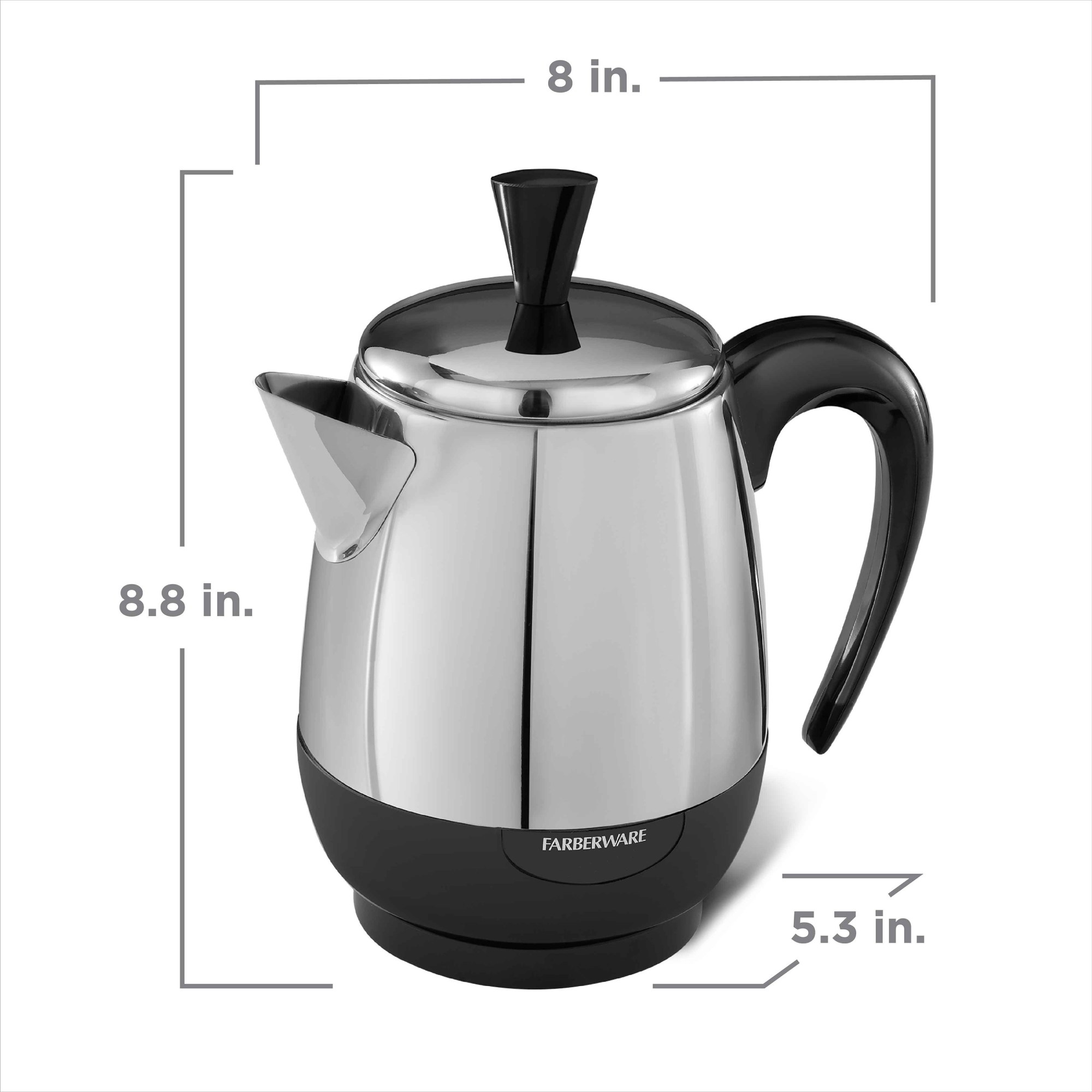 hight resolution of farberware 2 4 cup electric percolator stainless steel fcp240 walmart com