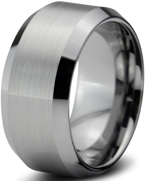 Charming Jewelers - Tungsten Wedding Band Ring 10mm Men Women Comfort Fit Beveled Edges