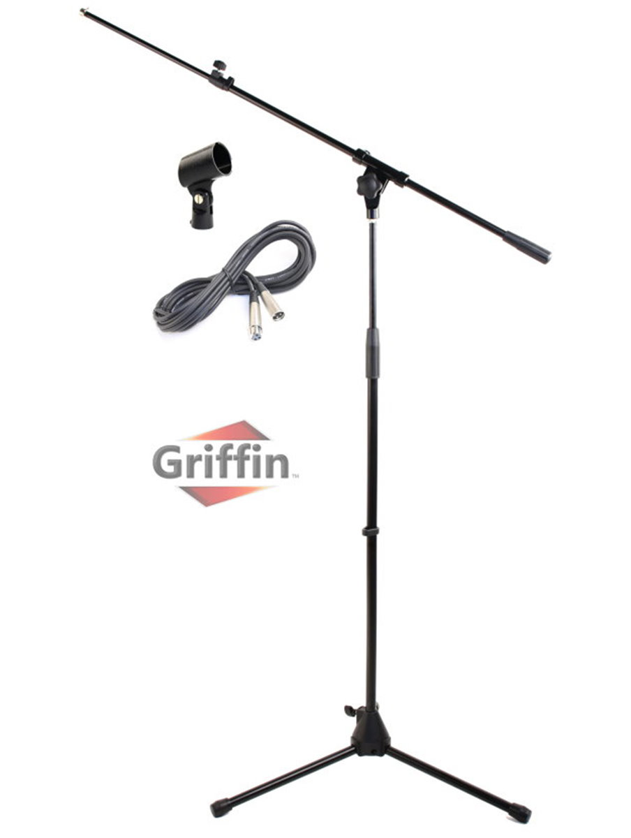 Microphone Stand with Telescoping Boom, XLR Cable and Mic
