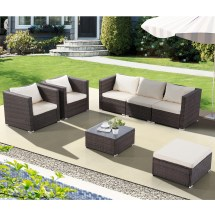 Uenjoy 7pc Outdoor Furniture Rattan Wicker Patio Sectional