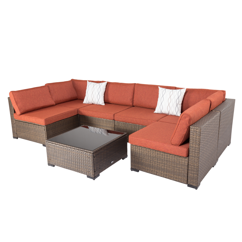 kinbor 7pcs outdoor wicker rattan patio furniture sectional sofa set golden black gradients