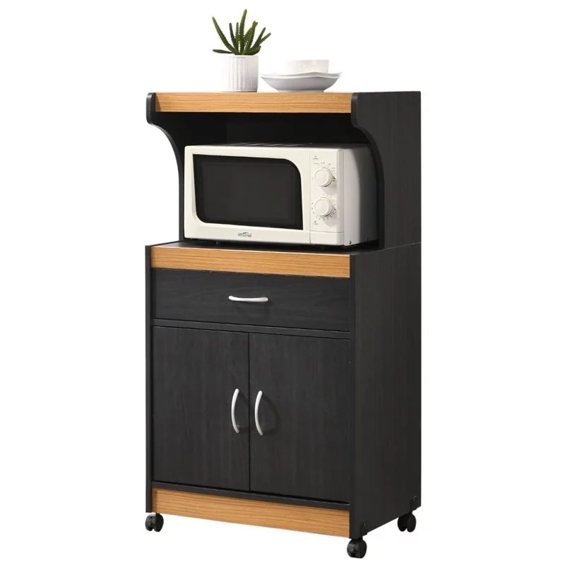 pemberly row microwave kitchen cart in black beech
