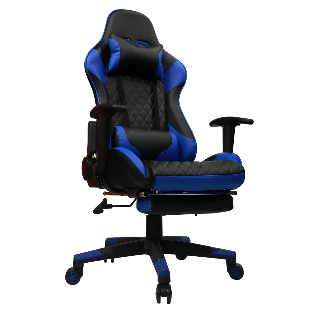blue leather office chair red tufted kinsal gaming including headrest and lumbar support executive computer high back ergonomic