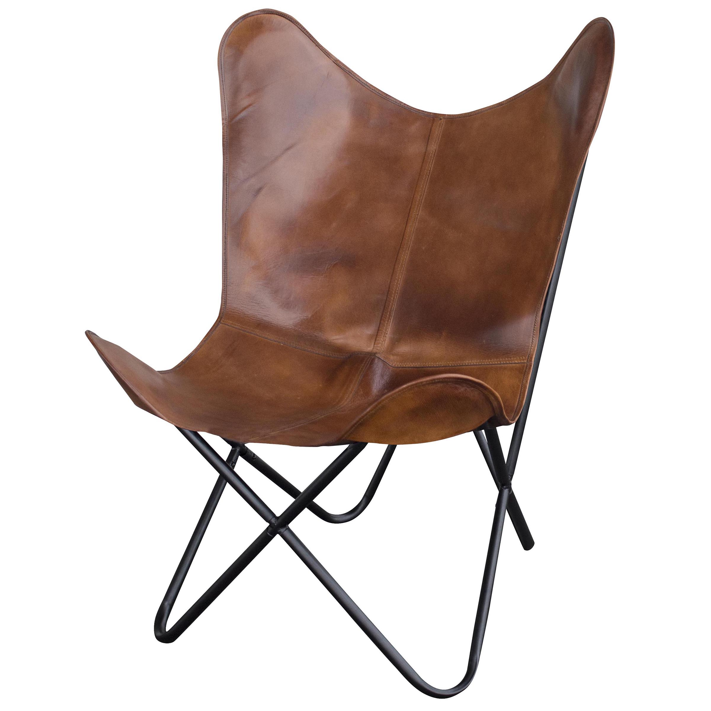 Amerihome Leather Butterfly Chair in Natural Tan  Walmartcom