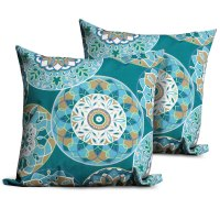 Teal Sundial Outdoor Throw Pillows Square Set of 2 ...