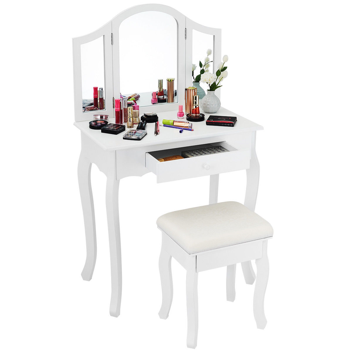 Makeup Table Chair Costway White Tri Folding Mirror Vanity Makeup Table Set Bathroom W Stool Drawers
