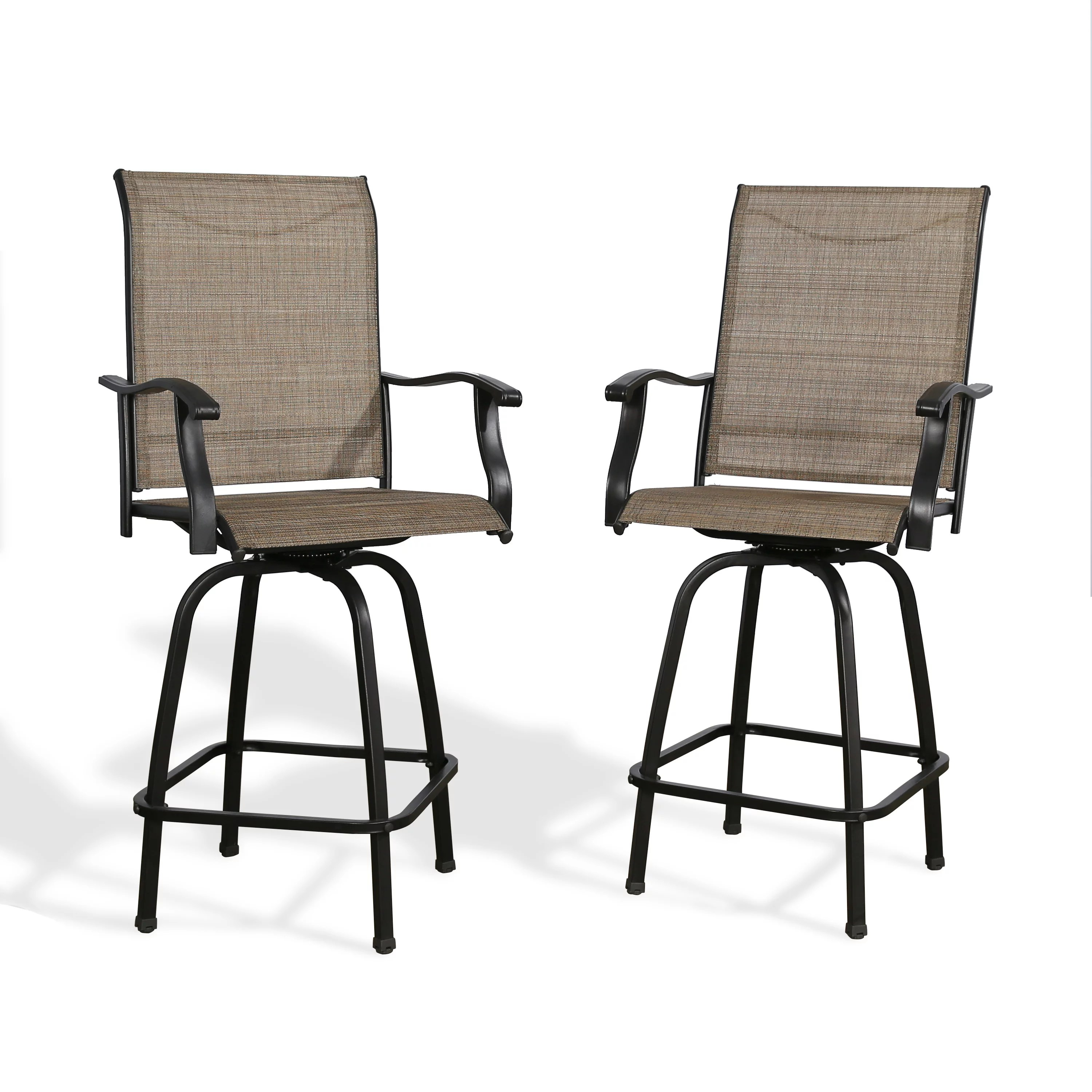 ulax furniture outdoor 2 piece swivel bar stools high patio chairs with sling seat