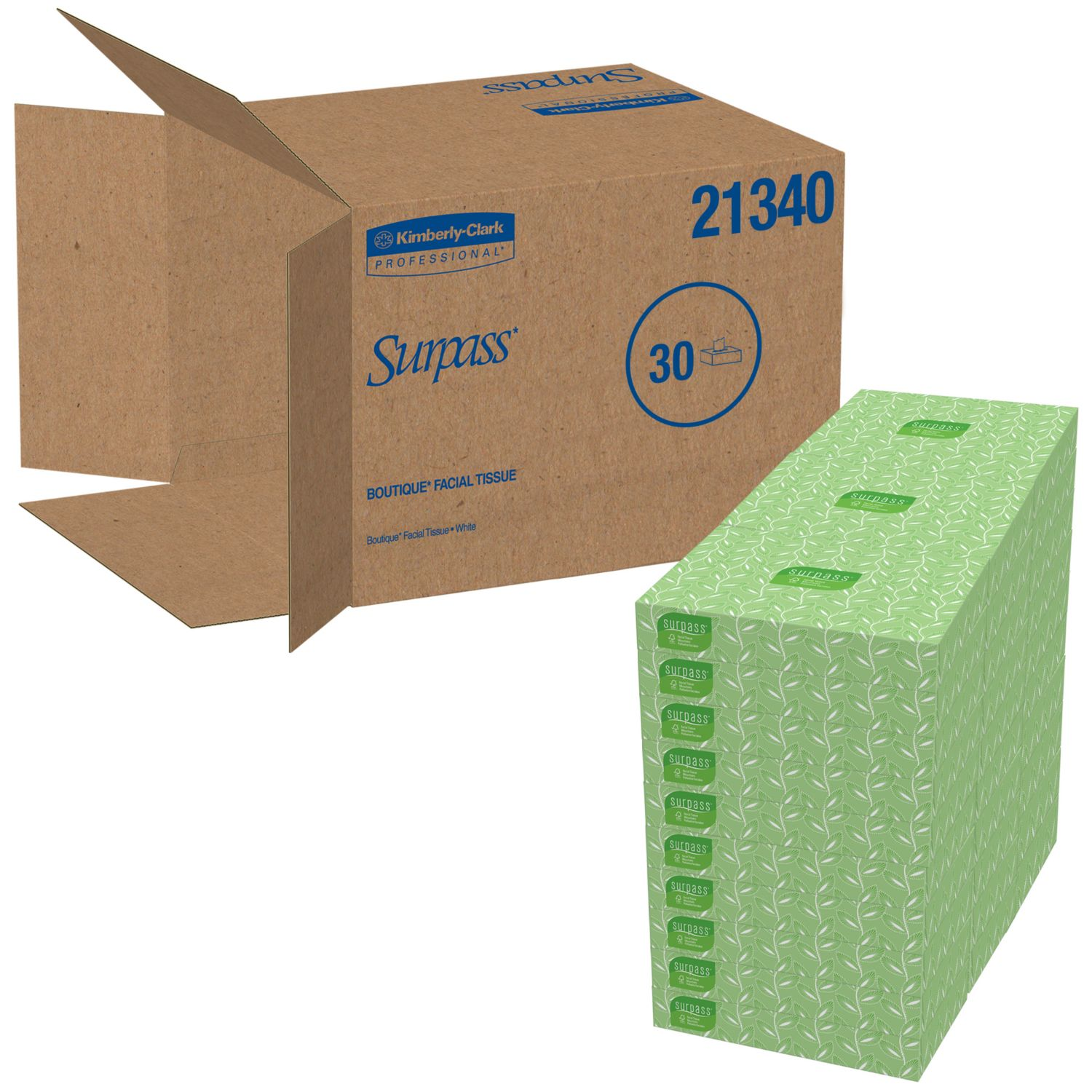 Surpass Facial Tissue Flat Box 2Ply White Unscented