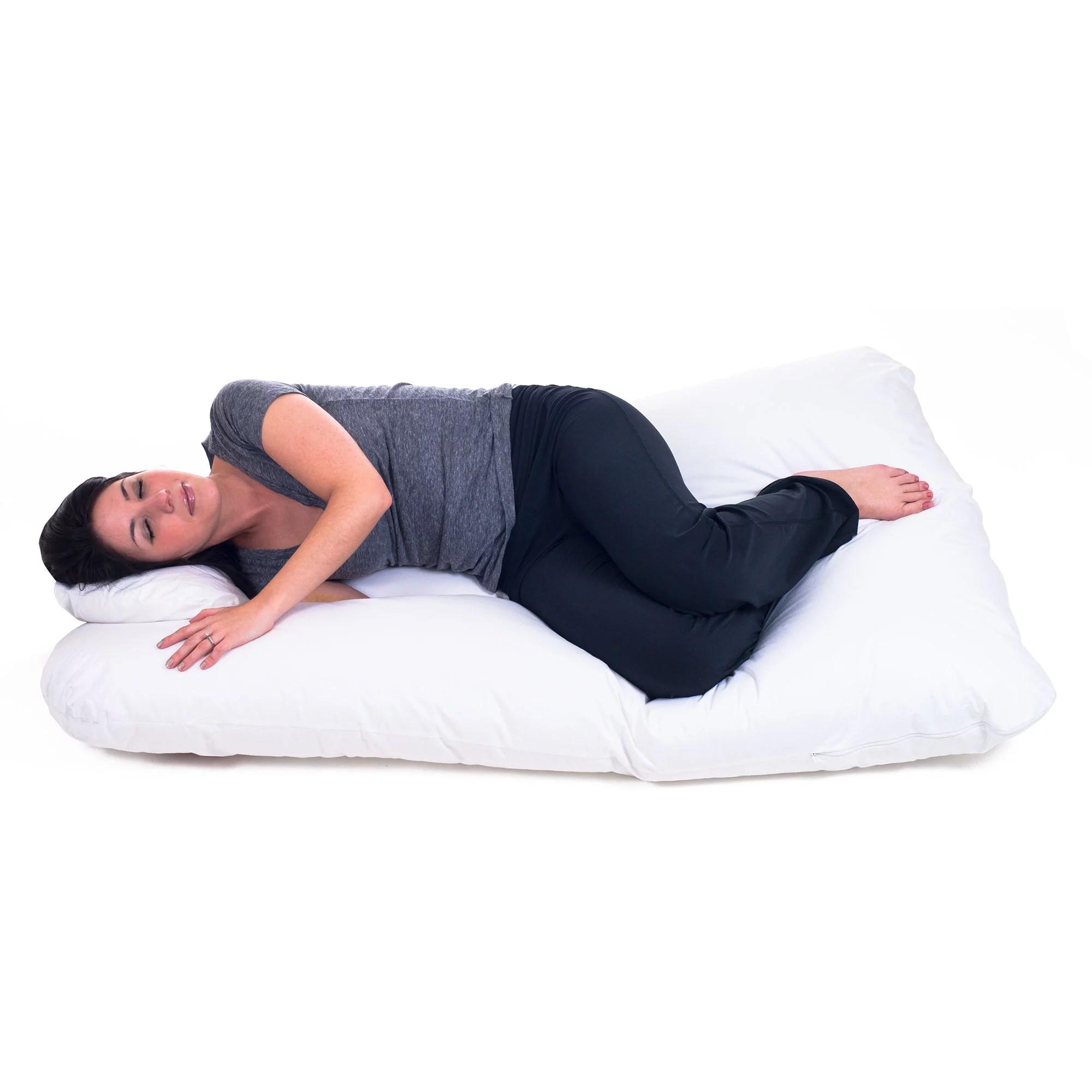 pregnancy pillow full body maternity pillow with contoured u shape by bluestone back support lavish home white 60 x 38 x 7 walmart com walmart com