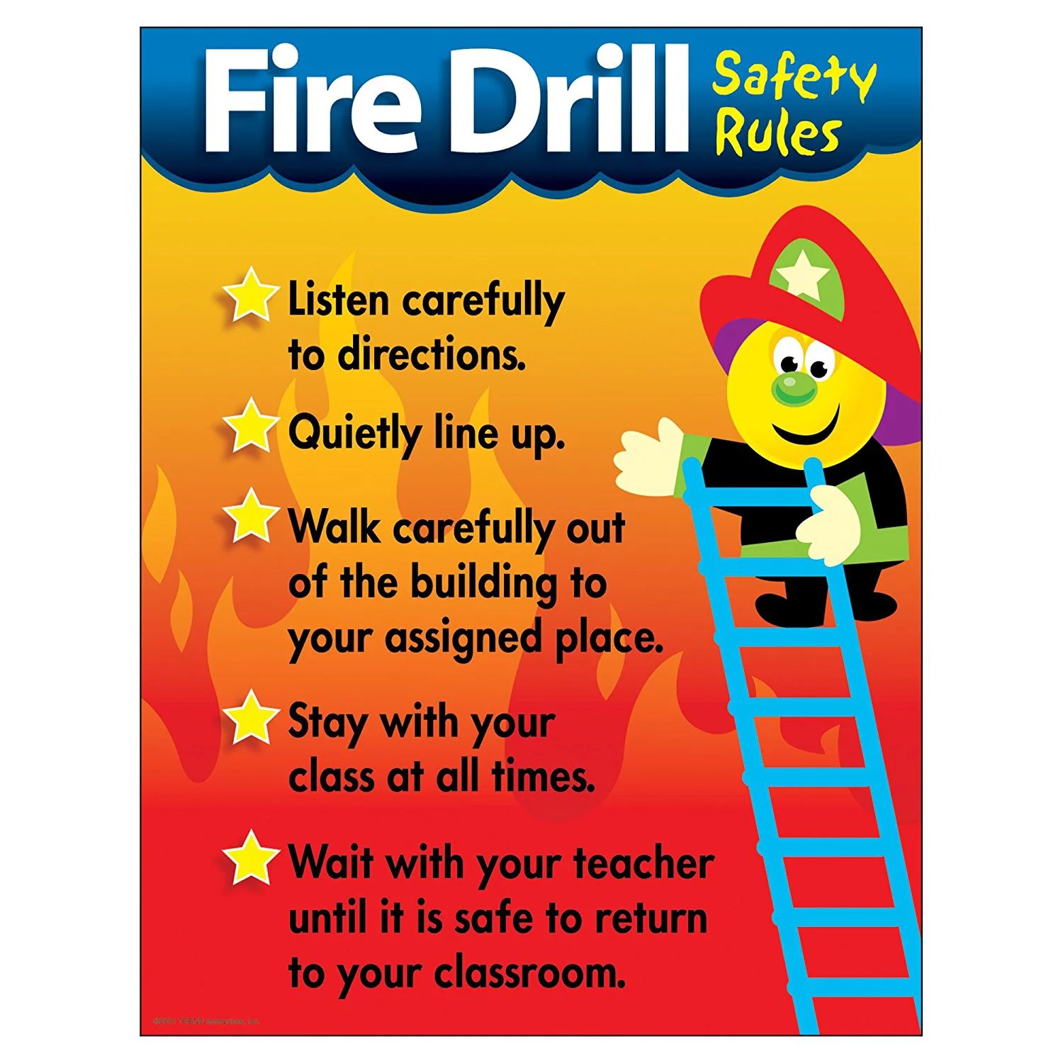 Trend Enterprises Fire Drill Safety Rules Learning Chart