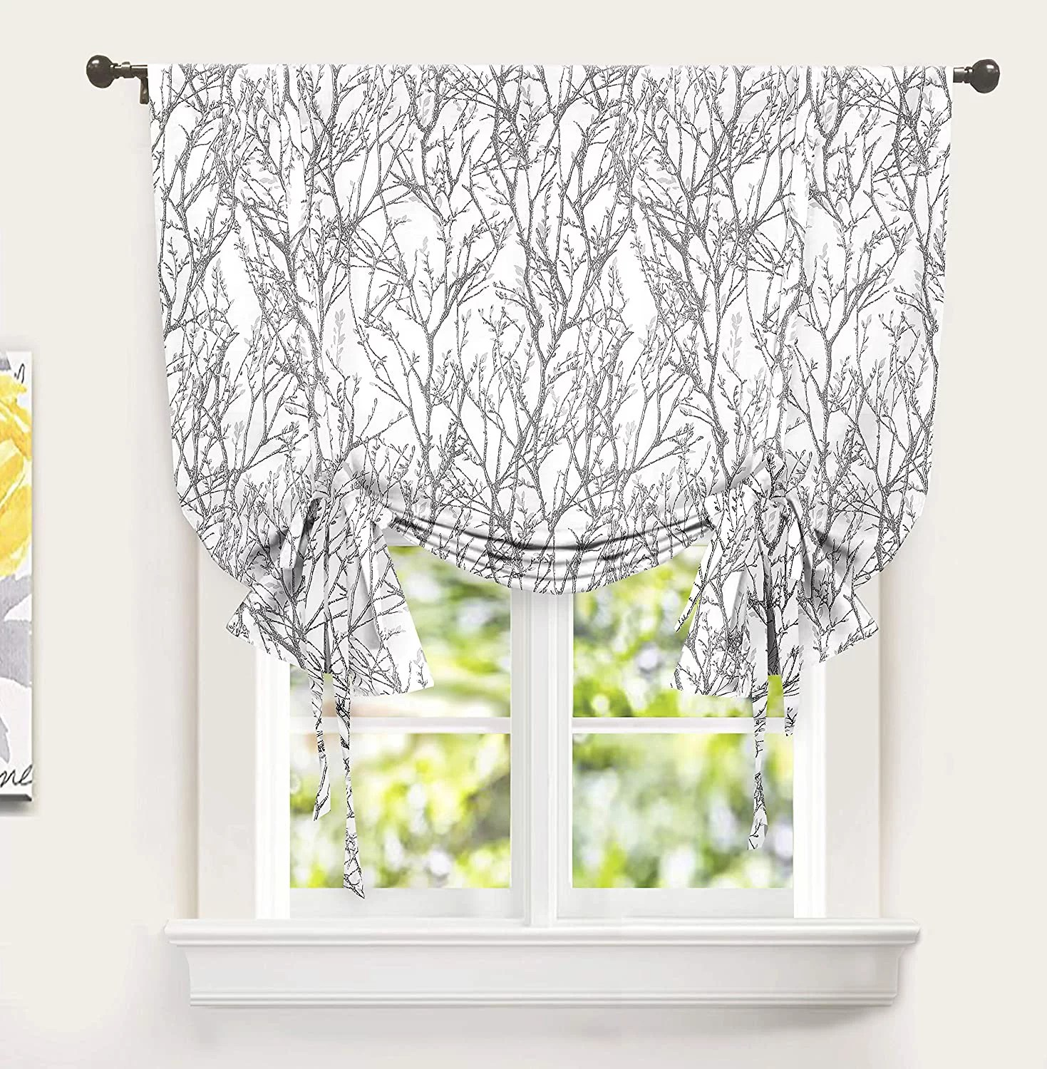 driftaway tree branch botanical pattern painting tie up adjustable balloon curtain for small window rod pocket single 45 inch by 63 inch gray
