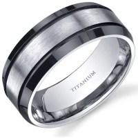Oravo Men's Titanium Black and Silver Beveled Edge Ring ...