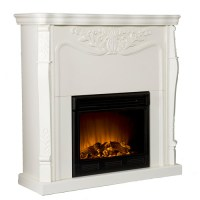 Tarpley Carved Electric Fireplace, Ivory