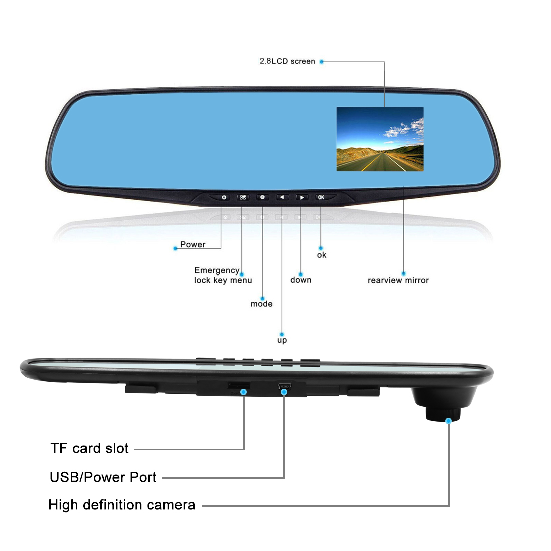small resolution of 1080p car dvr rearview mirror camera video recorder g sensor 2 8 rearview mirror backup camera rearview mirror wiring diagram tv