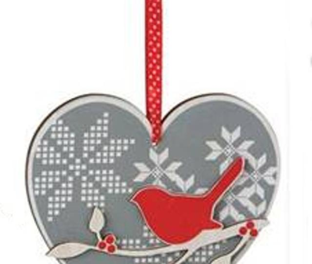 Alpine Chic Gray Red And Cream Bird On Branch Wooden Heart Christmas Ornament