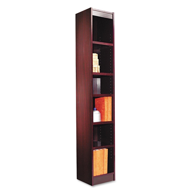Alera Narrow Profile Bookcase Finished Back Wood Veneer 6 Shelf 12 W By 12 D By 72 H Mahogany