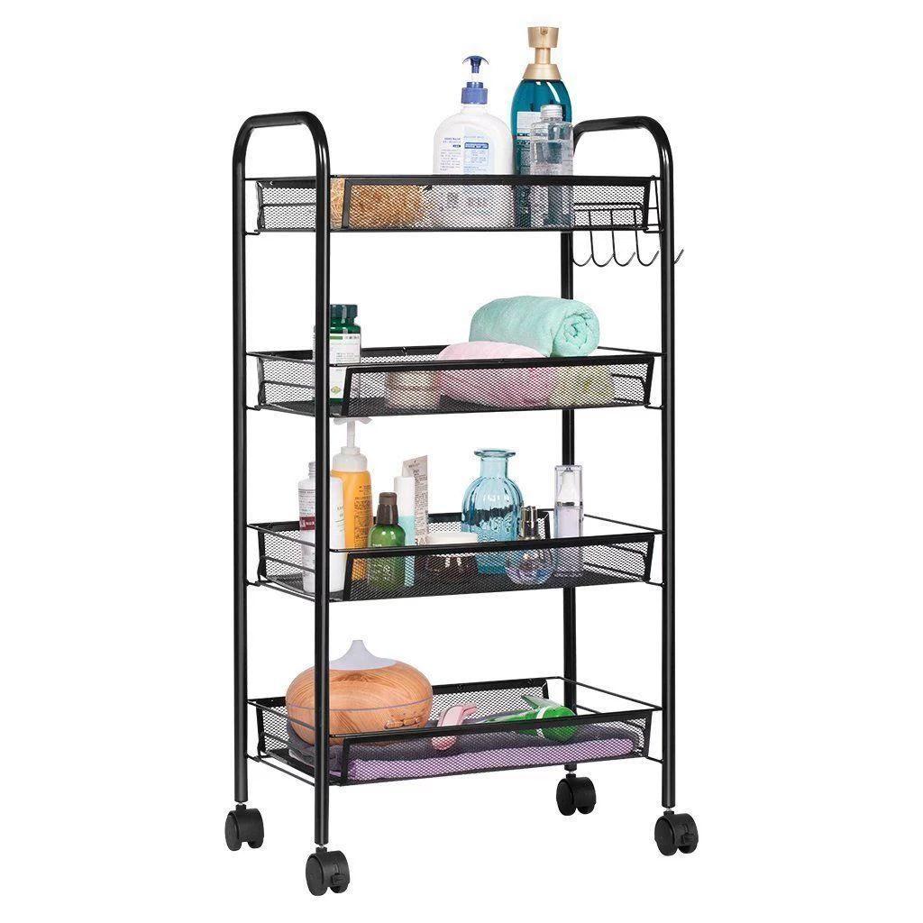 ktaxon 4 tier organizer metal rolling storage shelving rack kitchen wire shelf