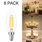6 Pack Kohree Led Candelabra Bulb Chandelier Edison Filament Dimmable 40w Equivalent