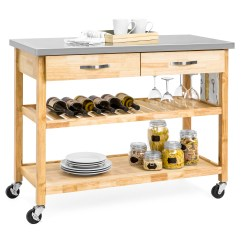 Stainless Kitchen Cart Island With Seating Best Choice Products 3 Tier Wood Rolling Utility Serving W Steel Countertop Natural Walmart Com