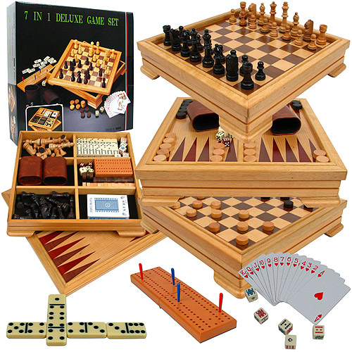 Deluxe 7 In 1 Game Set With Chess Backgammon And More