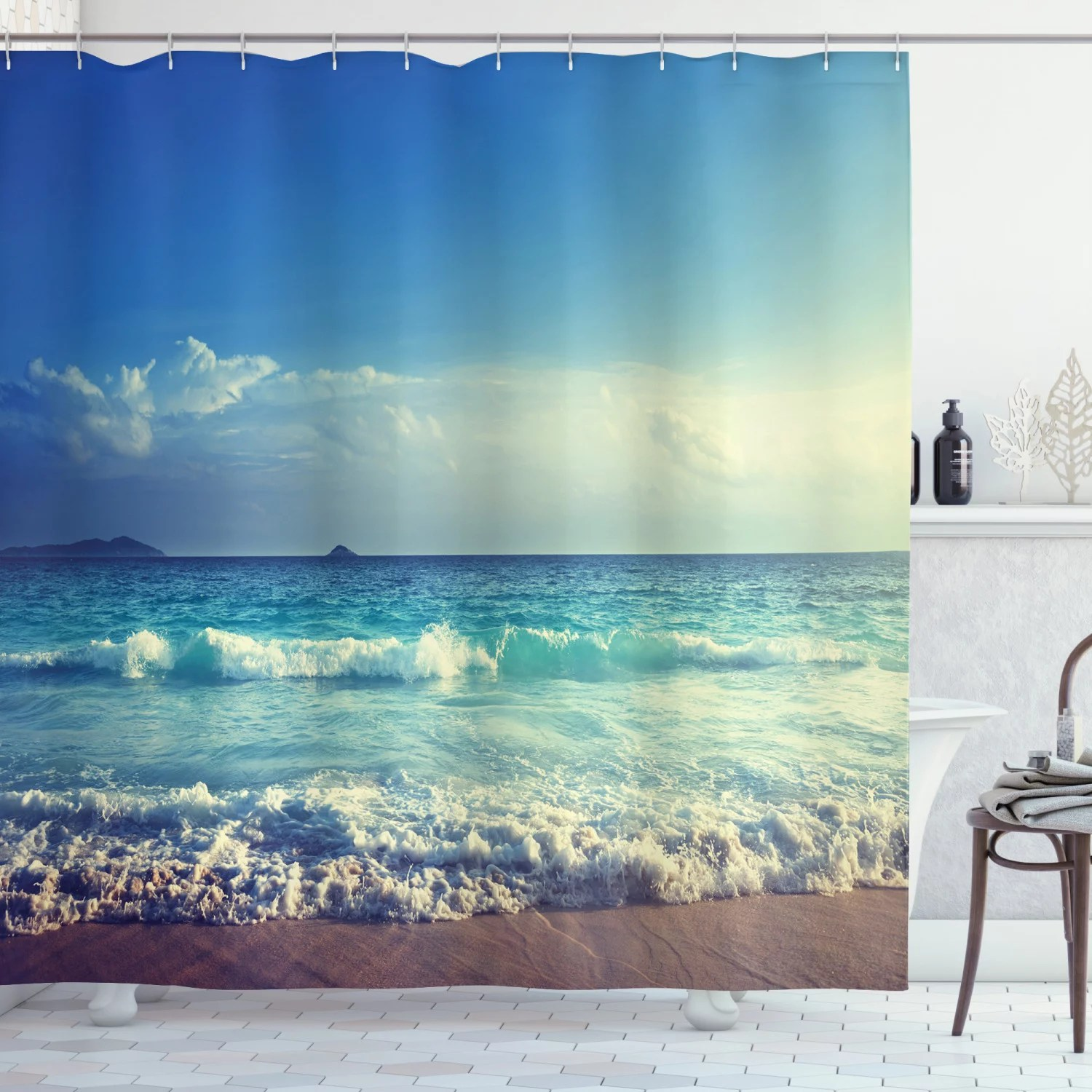 ocean decor shower curtain set tropical island paradise beach at sunset time with waves and the misty sea image bathroom accessories 69w x 70l