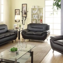 Black Leather Living Room Lights For Wall Norton 3 Pc Faux Modern Sofa Set Walmart Com