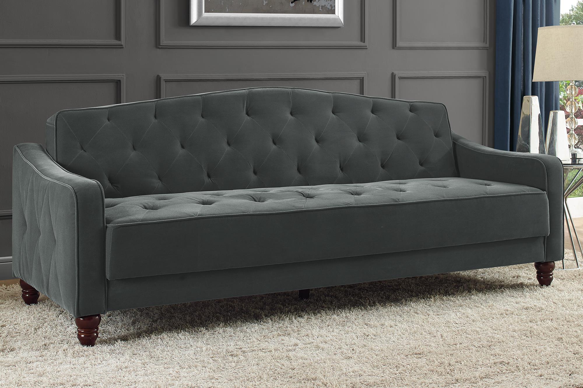 novogratz vintage tufted sofa sleeper ii multiple colors grey velour walmart com