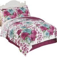 Watercolor Blue and Purple Rose Medium-Weight Comforter ...