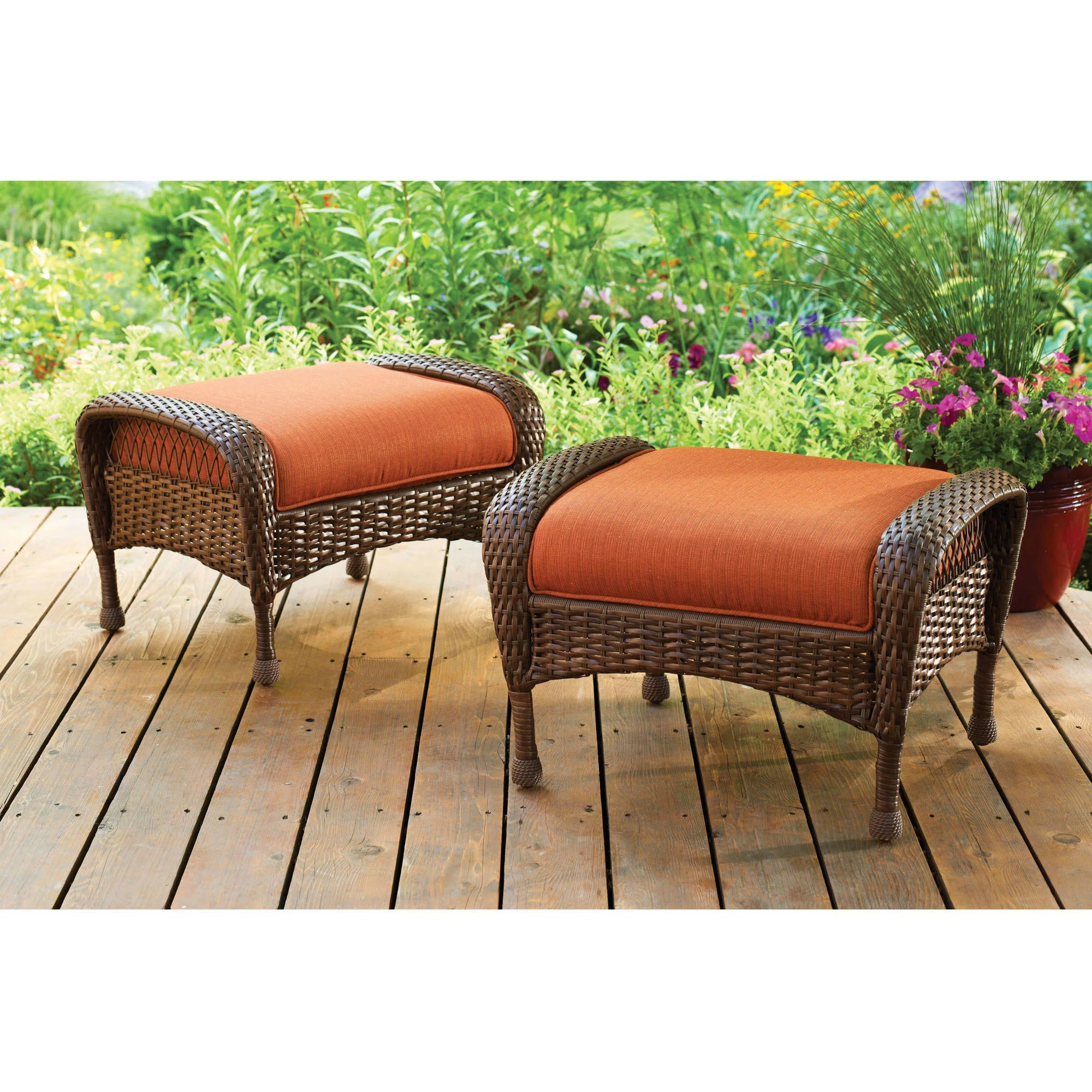 patio chair and ottoman folding sling canada better homes gardens azalea ridge outdoor ottomans set of 2 walmart com