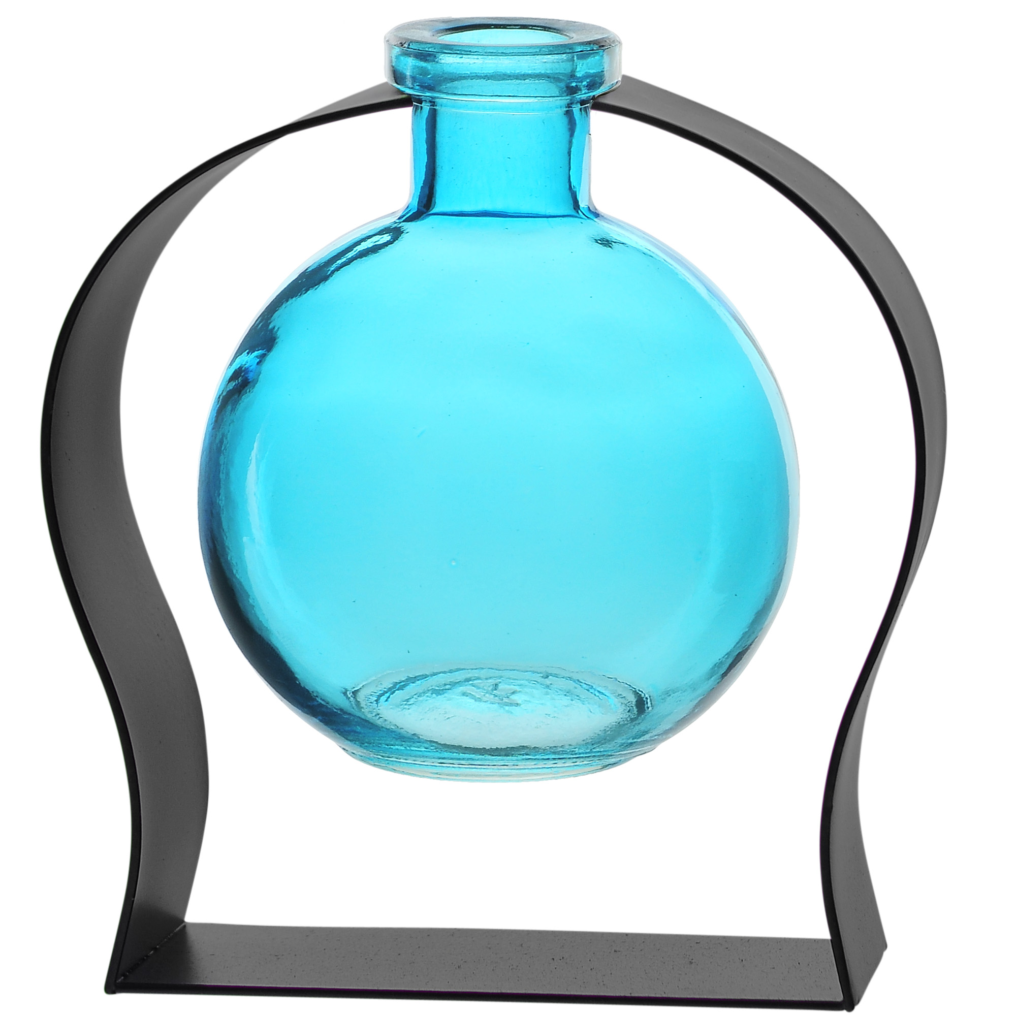 Couronne Co Ball Recycled Glass Vase and Arched Metal Stand. M244-200-00-P. 6 inches tall. 8.5 ounces. Clear - Walmart.com - Walmart.com
