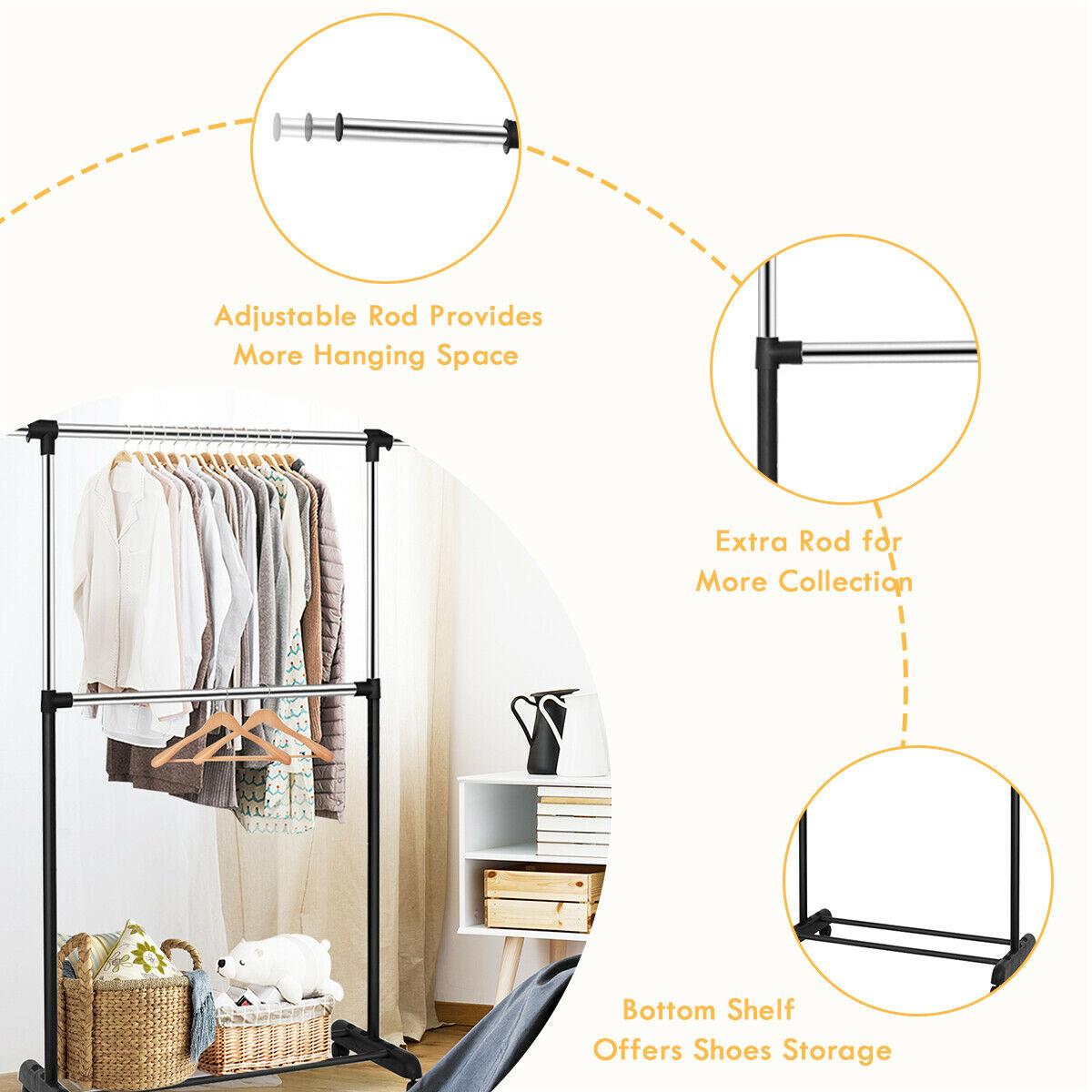 garment rack portable two rod hanger