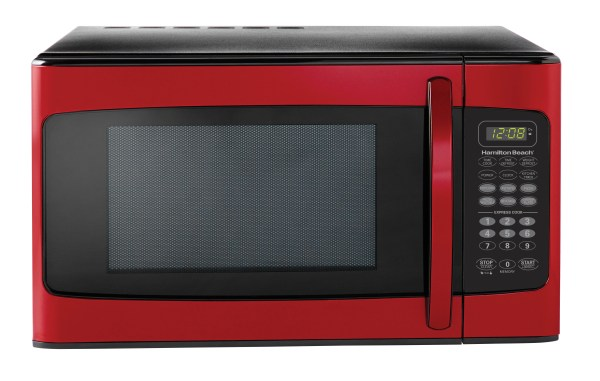 Microwave Oven Kitchen 1000 Watt 1.1 Cubic Feet Stainless Steel Food Tray Red