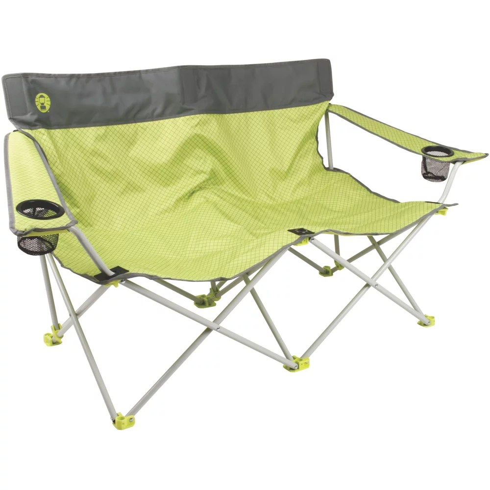 double seat folding chair round bamboo cushion coleman quattro lax quad camping walmart com