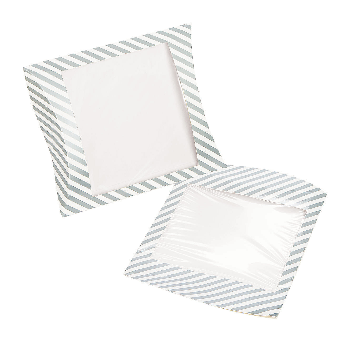 silver stripe pillow box within window party supplies 24 pieces