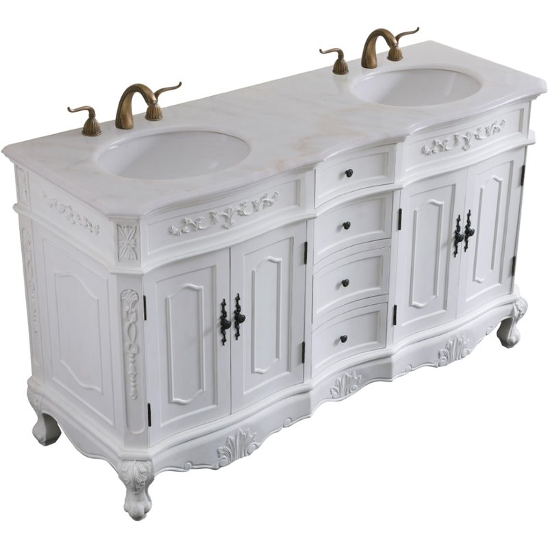 60 in double bathroom vanity set in antique white walmart com