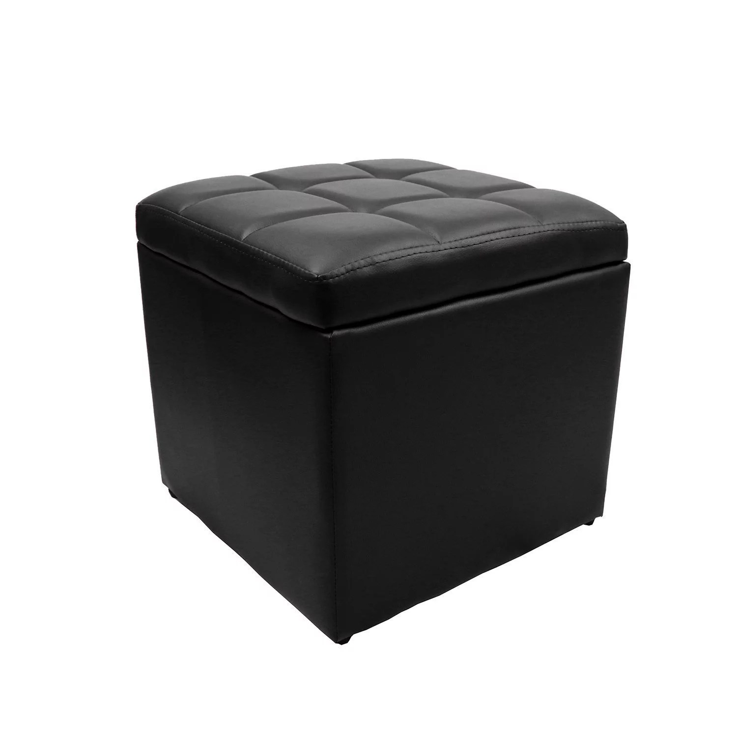 16 square unfold leather hinged storage ottoman bench footstool cocktail seat black