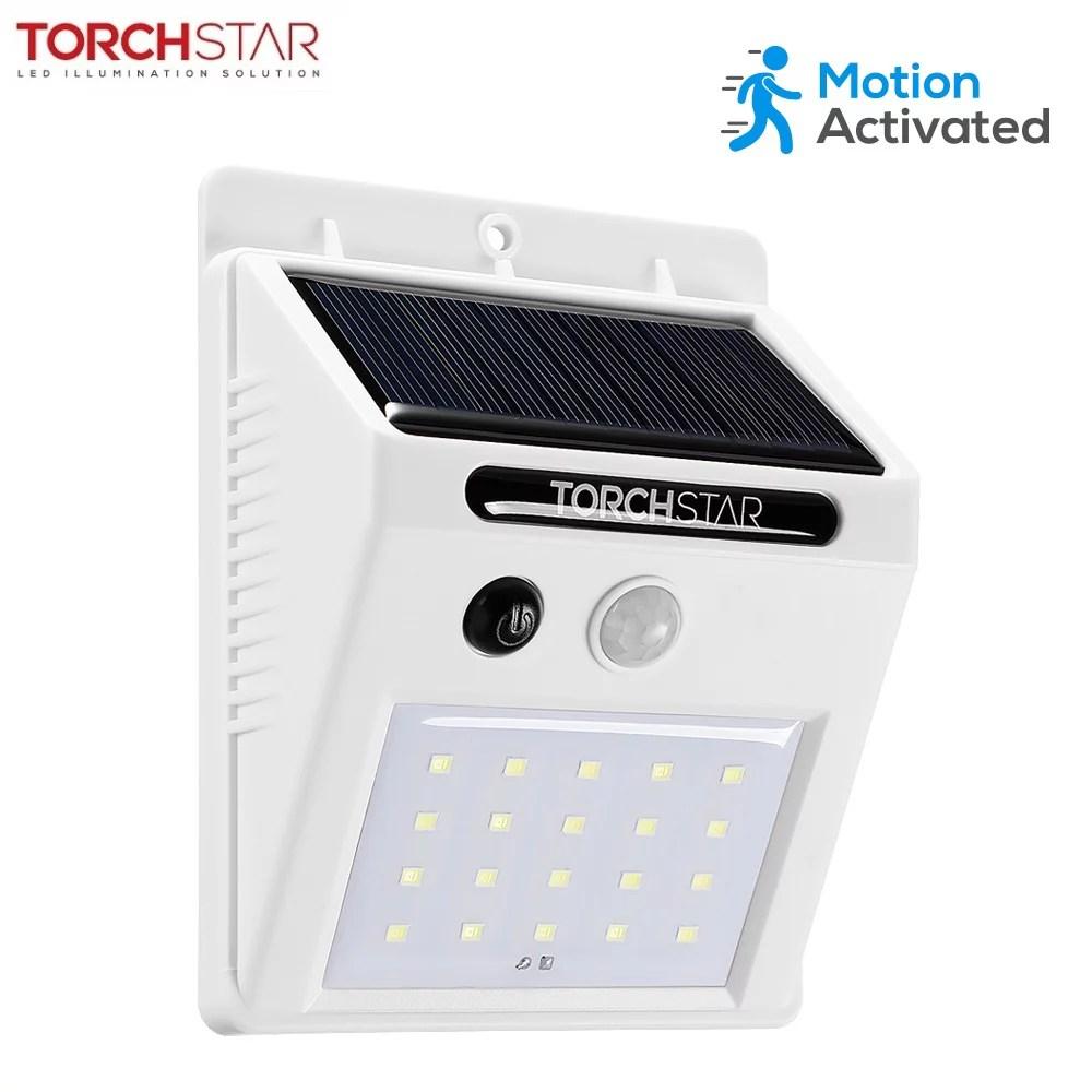 Torchstar 20 Led 320lm Solar Powered Motion Sensor Lights Wireless Outdoor Wall Lighting White Walmart Com Walmart Com