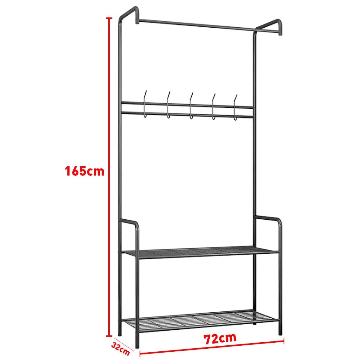 2 tier metal entryway coat rack garment hat coat hanger clothes hanging rack shoe shelf closet organizer free standing home office