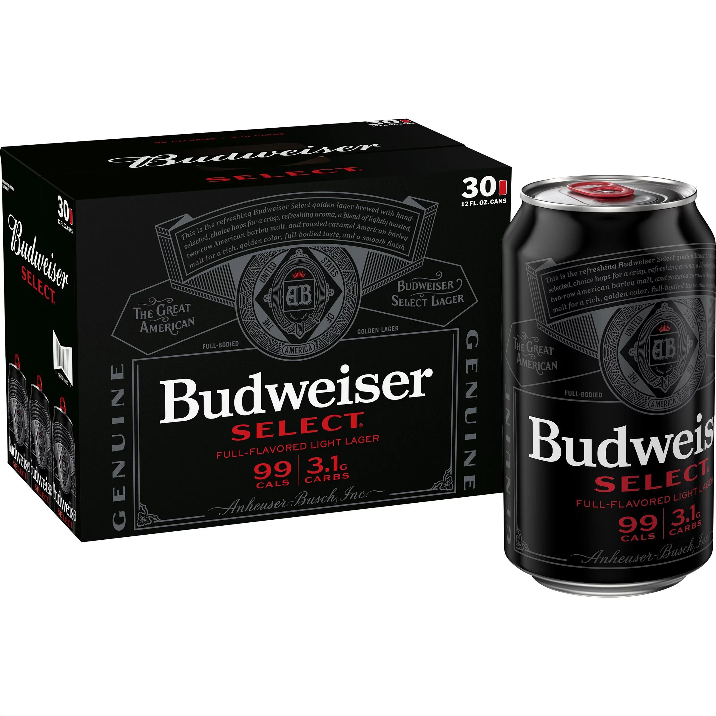 budweiser select light beer 30 pack 12 fl oz cans 4 3 abv walmart com