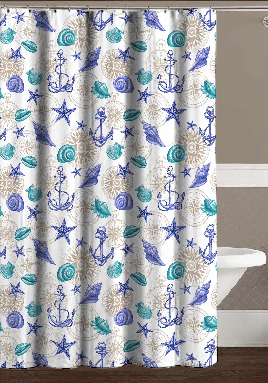 nautical ocean blue purple gray shower curtain for bathroom