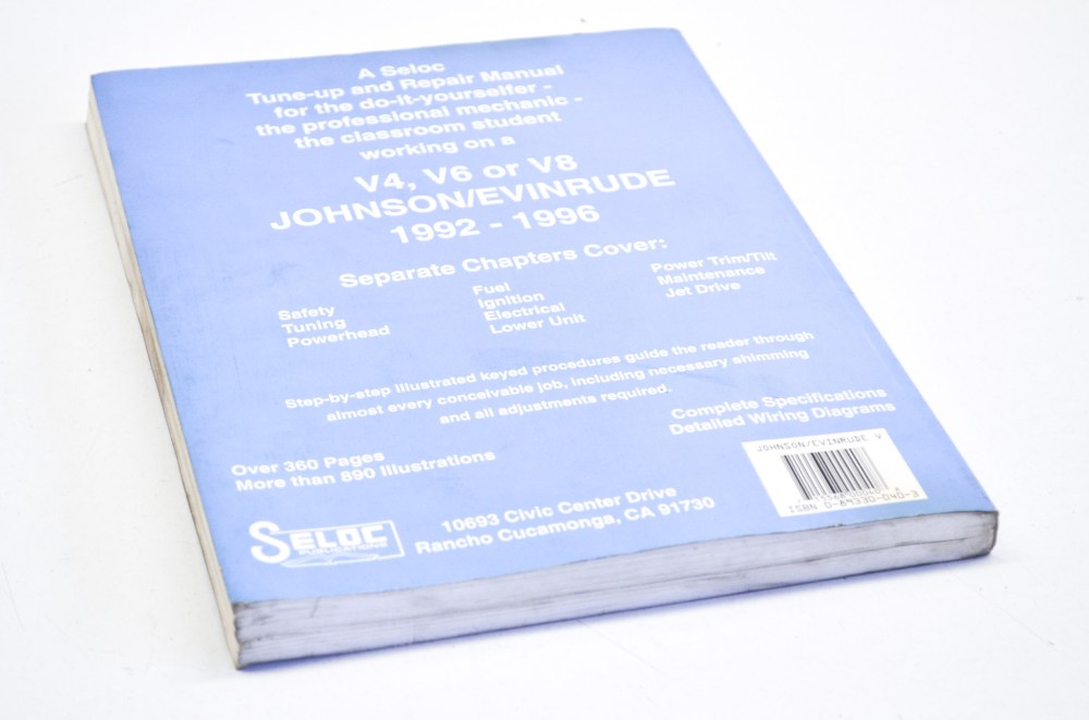 medium resolution of seloc 0 89330 040 3 1992 1996 johnson evinrude v4 v6 and v8 tune up and repair manual qty 1 walmart com