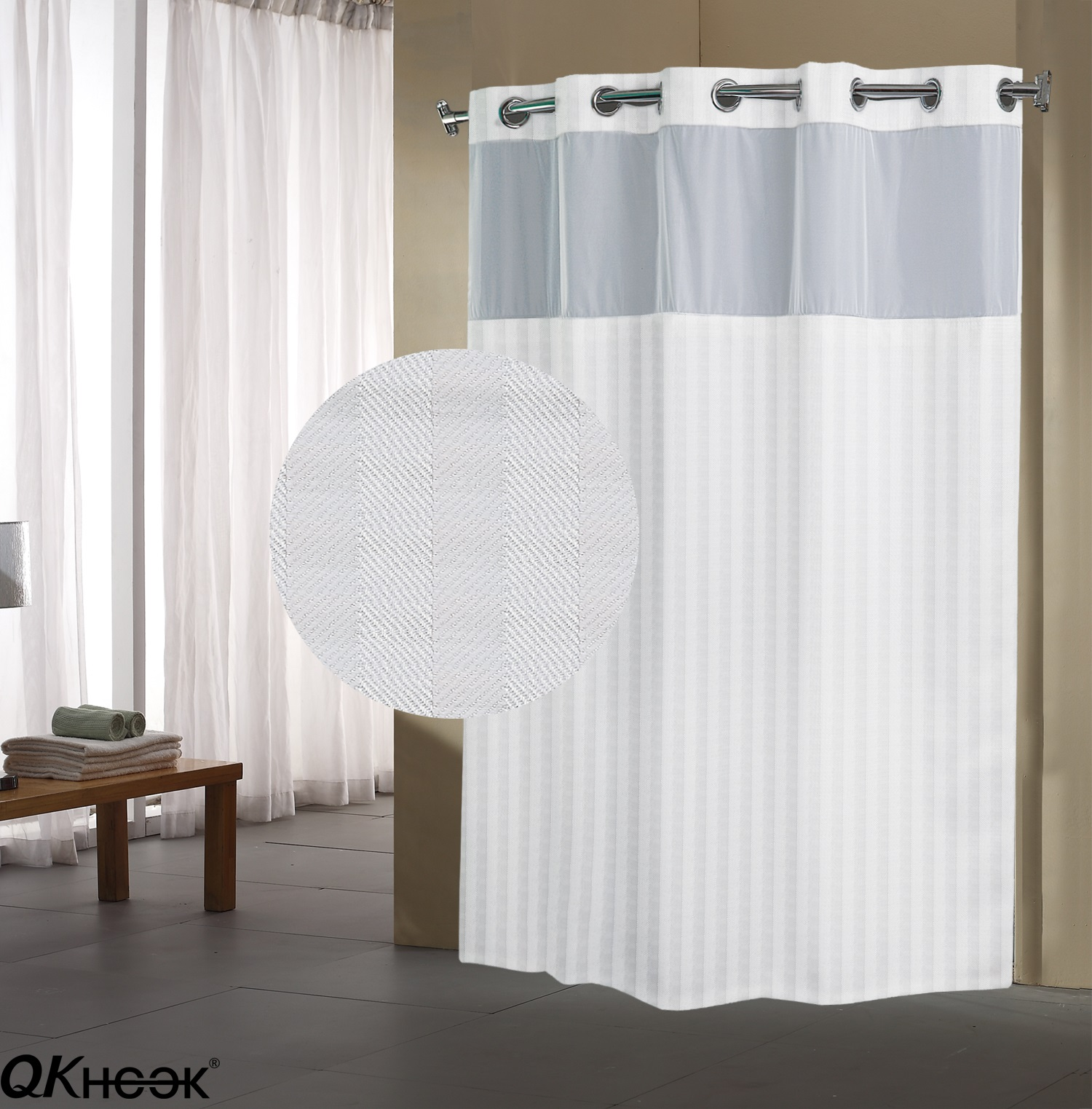 qkhook hookless shower curtain with snap in liner 1 pack 71x74 inches herringbone pattern fabric water repellent